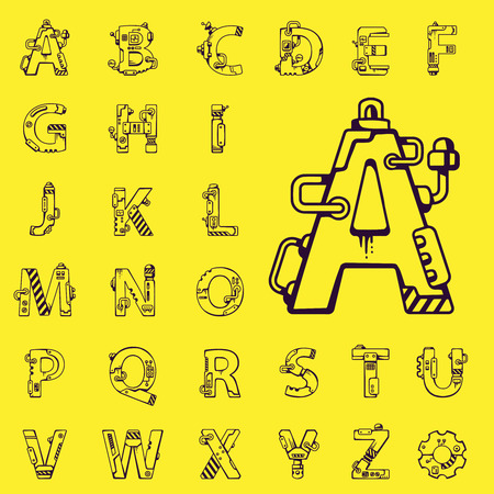 robot vector: black vector set of letters of the English alphabet mechanical robot style on yellow background