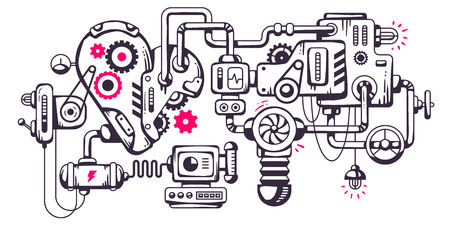 Vector industrial illustration background of the operating mechanism. Working heart. Line Art