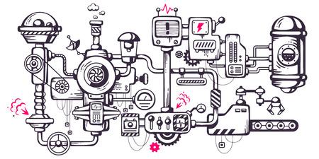 Vector illustration sfondo industriale del meccanismo di funzionamento. Complicato meccanismo sul posto di lavoro. Linea Art