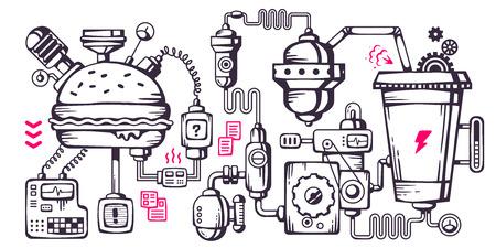 Vector industriële illustratie achtergrond van het bedieningsmechanisme. Complex mechanisme voor de ontwikkeling en recycling eten. Line Art Stock Illustratie