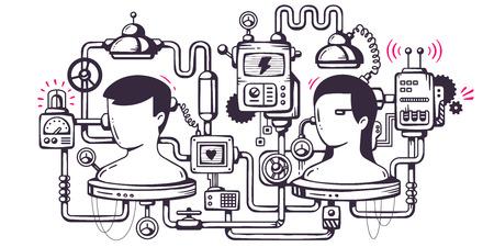Vector industriële illustratie achtergrond van het bedieningsmechanisme. Biologische mechanisme om de menselijke hersenen te bestuderen. Line Art Stock Illustratie