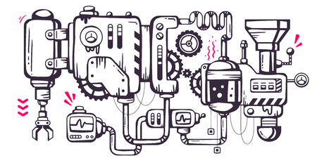 Vector industrial illustration background of the operating mechanism. Old mechanism with the oil leaks, monitoring and work.Line Art