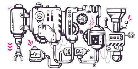 운영기구의 벡터 산업 그림 배경. 오일 누출 오래 된 메커니즘, 모니터링 및 work.Line 예술