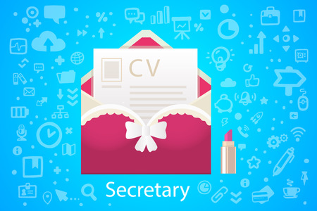 Vector illustration of character envelope office occupation with a summary on the blue background with different icons Vector