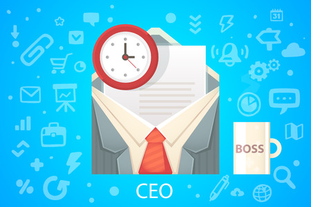 hired: Vector illustration of character envelope office occupation with a summary on the blue background with different icons Illustration
