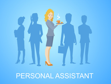 illustration of woman portrait secretary with coffee in hand stands in the center on blue background of silhouette business team of businesspeople