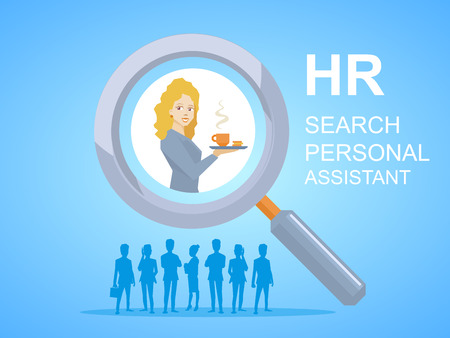 personal assistant: illustration of woman portrait personal assistant with coffee in hand seen through a magnifier on blue background with silhouettes of business people Illustration