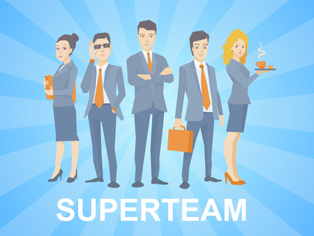 tiras comicas: ilustraci�n de un equipo de negocios s�per de j�venes empresarios de pie juntos en el fondo azul con las tiras c�micas
