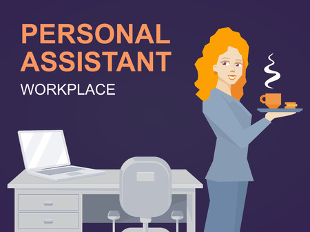 personal assistant: illustration of woman portrait personal assistant with coffee in hand stands on office background