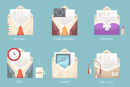 hr: illustration of a set of characters of different envelopes office occupations with a summary on the blue background Illustration
