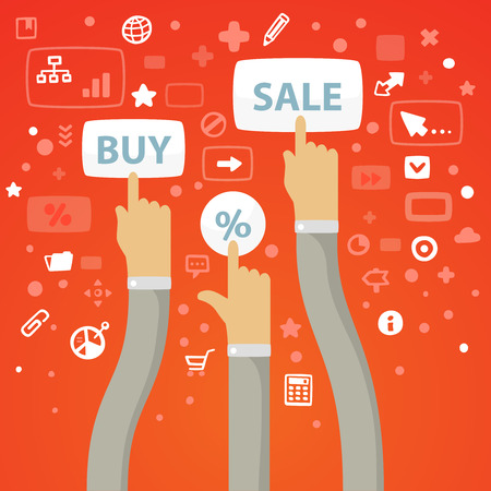 reach out: Bright illustration male hands curving stretch to the buttons to buy, sell and percent on a red background with different financial icons