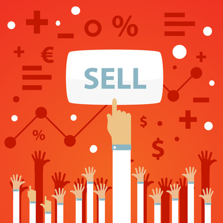 stock market quote: Bright illustration of a mans hand is raised up and presses the button to sell on a red background with raised up hands and financial icons