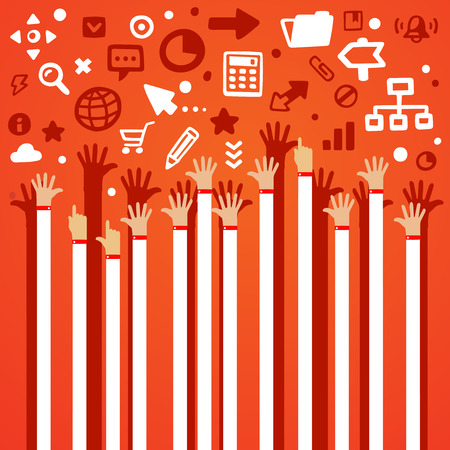 arms raised: Bright illustration lots of male hands are lifted upwards on a gray background with different application icons