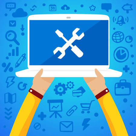repair man: Bright illustration two male hands holding a laptop with icons screwdriver and wrench on the screen on a blue background with different application icons Illustration