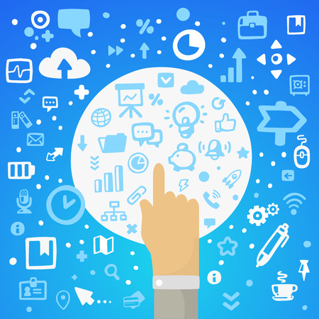 illustration man hand pushing the button on a large white on a blue background with different application icons Vector