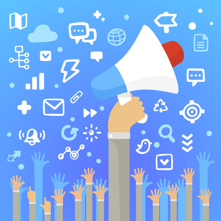 Bright illustration man and holding a large white loudspeaker above a lot of peoples hands on a blue background with different application icons