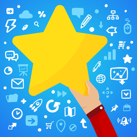 pointed arm: Bright illustration mans hand holding a large yellow star on a blue background with different application icons