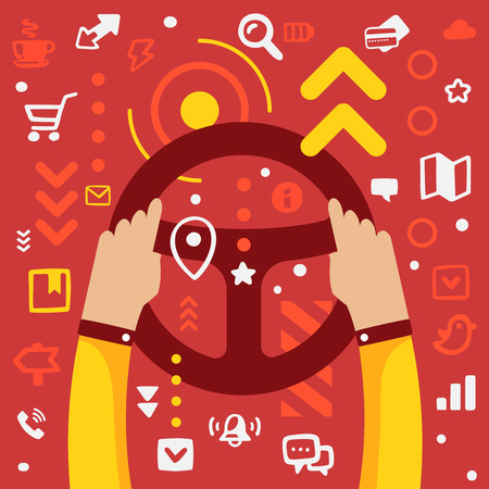 Bright illustration hands of men in business suit holding a steering wheel on a red background with different application icons Illustration