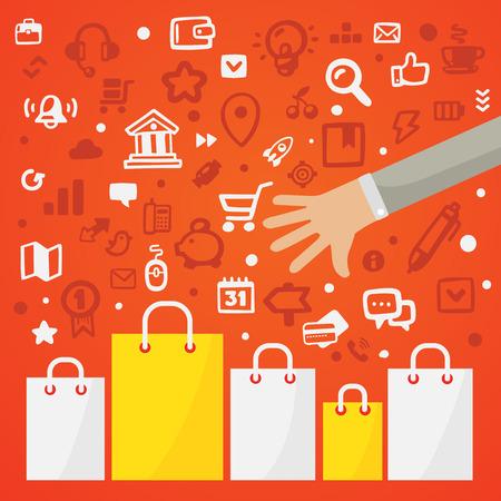 illustrazione uomo: Brillante illustrazione braccio raggiunge per i sacchetti di carta in piedi su uno sfondo rosso con diverse icone dello shopping