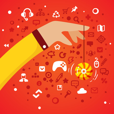 disk break: Bright illustration hand men in business suit holding a rope yo-yo on a red background with different gaming and office icons Illustration