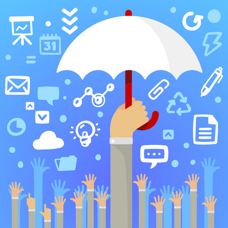 Bright illustration man hand holding a large white umbrella above a lot of peoples hands on a blue background with different application icons Vector