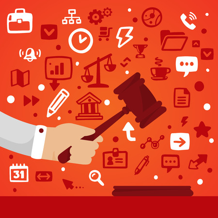 Bright illustration male hand holding a gavel  on a red background with different legal application icons
