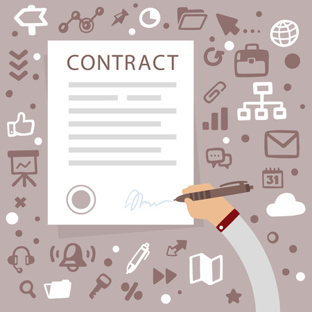 Bright illustration male hand writes contact on a gray background with different financial application icons Vettoriali