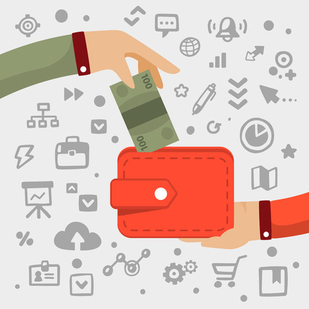 Bright illustration male  hand gives green banknote to red wallet on a light background with different financial application icons Illustration