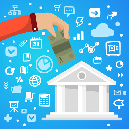 contributing: Bright illustration male hand down the banknote to bank on a blue background with different financial application icons