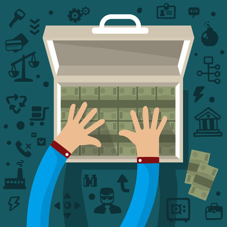 counterfeit: Bright illustration two male hands holding open suitcase with money on a dark background with different financial application icons Illustration