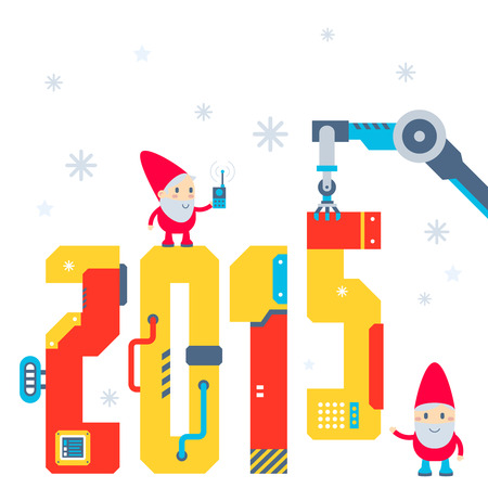 Vector illustration of the gnome operates the machine that puts presents and puts the number 2015. Color bright flat design for card, banner, poster, advertising, blog Vector