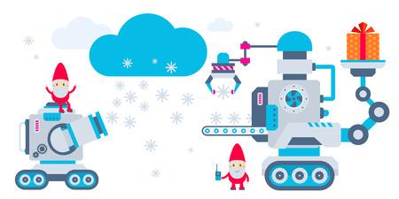 operates: Illustrazione di vettore orizzontale del gnome funziona la macchina che tiene presente e un altro produce i fiocchi di neve. Design piatto luminoso a colori per la carta, striscioni, poster, pubblicit�, blog Vettoriali
