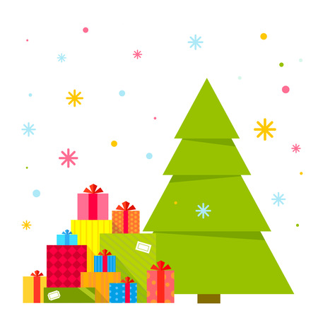 Vector illustration of the Christmas tree and piles of presents under it on a background of colorful snowflakes. Color bright flat design for card, banner, poster, advertising, blog Vector