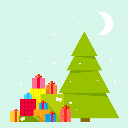 christmas gifts: Vector illustration of the Christmas tree and piles of presents under it on blue background with snowflakes and moon. Color bright flat design for card, banner, poster, advertising, blog Illustration