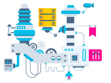 industrial illustration of the factory for measurement of the parameters server. Color bright flat design for banner, web, site, advertising, print, poster.
