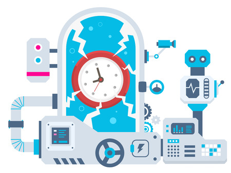 時計工場の産業図のベクトルの背景。バナー、web、サイト、広告、印刷、ポスターの色明るいフラット デザイン。
