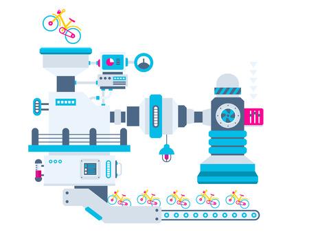 cinta transportadora: Vector ilustración de fondo industrial de la fábrica para la producción de bicicletas. Diseño plano brillante en color para la bandera, tela, sitio, publicidad, impresión, cartel.