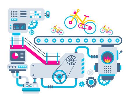 제조 자전거 공장 벡터 산업 그림 배경. 배너, 웹 사이트, 광고, 인쇄, 포스터 컬러 밝은 평면 디자인. 일러스트