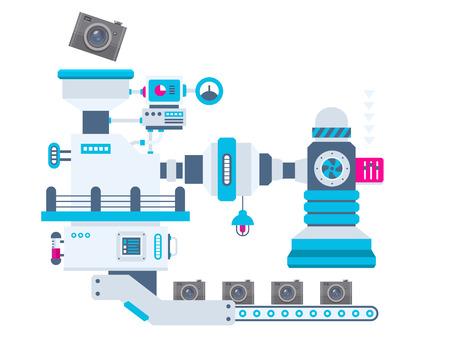 cinta transportadora: Vector ilustración de fondo industrial de la fábrica para la producción de cámaras. Diseño plano brillante en color para la bandera, tela, sitio, publicidad, impresión, cartel. Vectores