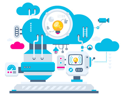 Vector industrial illustration background of the cloud technology bulbs. Color bright flat design for banner, web, site, advertising, print, poster.