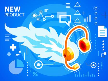 head phone: Vector brillante fuego ilustraci�n y tel�fono de la cabeza en el fondo azul de la bandera, tela, sitio, dise�o, publicidad, impresi�n, cartel. Eps 10.
