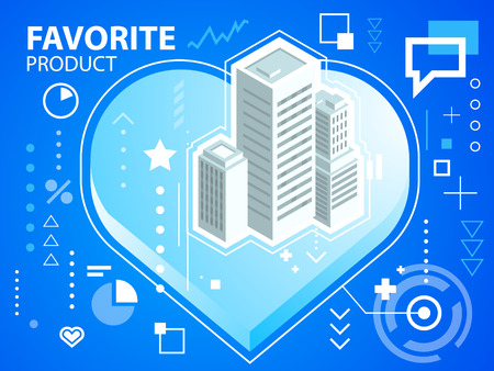 Vector bright illustration heart and buildings on blue background for banner, web, site, design, advertising, print, poster. Eps 10. Illustration