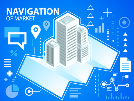 Vector bright illustration navigation map and buildings on blue background for banner, web, site, design, advertising, print, poster. Eps 10. Vector