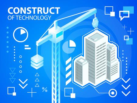 construct: Vector heldere illustratie constructie Crine en gebouwen op blauwe achtergrond voor banner, web, website, ontwerp, reclame, print, poster. Eps 10.
