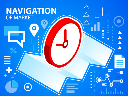 to navigate: Vector bright illustration navigate map and clock on blue background for banner, web, site, design, advertising, print, poster. Eps 10.