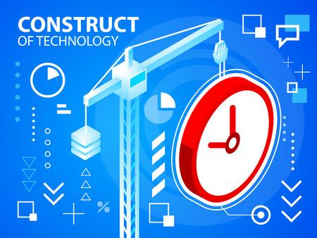 construct: Vector heldere illustratie construct crine en klok op een blauwe achtergrond voor banner, web, website, ontwerp, reclame, print, poster. Eps 10. Stock Illustratie