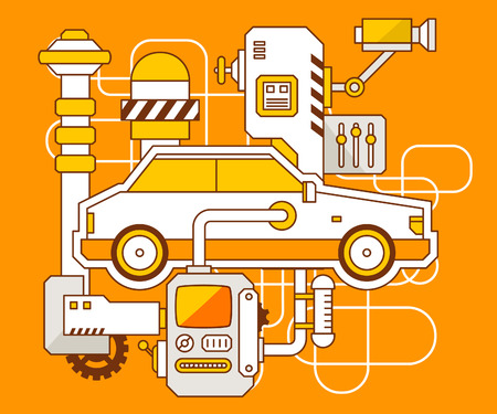 auto insurance: Vector industrial illustration of the mechanism of car. Yellow color line art and flat design for banner, print, poster, sticker, advertising