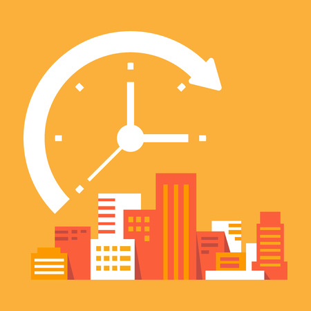 digital clock: time goes on in the city Illustration