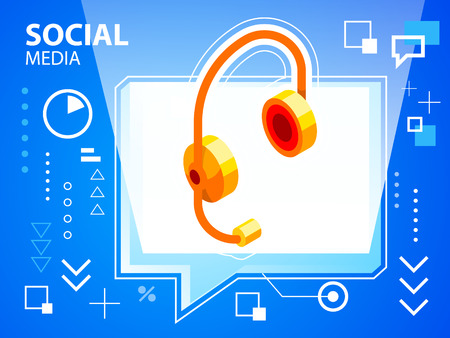 head phone: Vector ilustraci�n brillante burbuja de di�logo y tel�fono de la cabeza en el fondo azul de la bandera, tela, sitio, dise�o, publicidad, impresi�n, cartel. Eps 10. Vectores