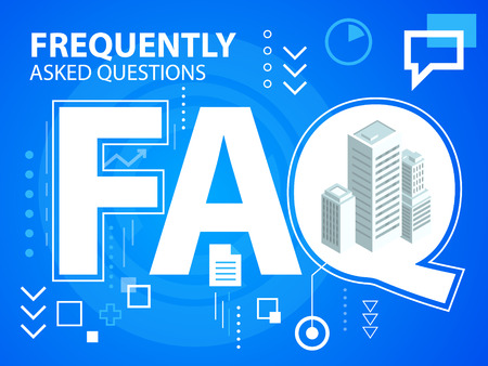 Vector bright illustration faq and buildings on blue background for banner, web, site, design, advertising, print, poster. Eps 10. Иллюстрация